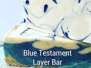 blue hand made soap